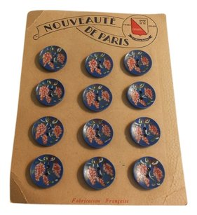 FRENCH NOUVEAUTE DE PARIS-12 HAND PAINTED BLUES AND PINKS BUTTONS--3/4