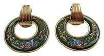 Frey Wille 24k Gold/Enamel Clip-on Earrings