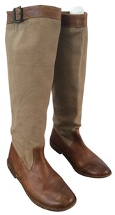 Frye Beige Canvas & Brown Learher Boots