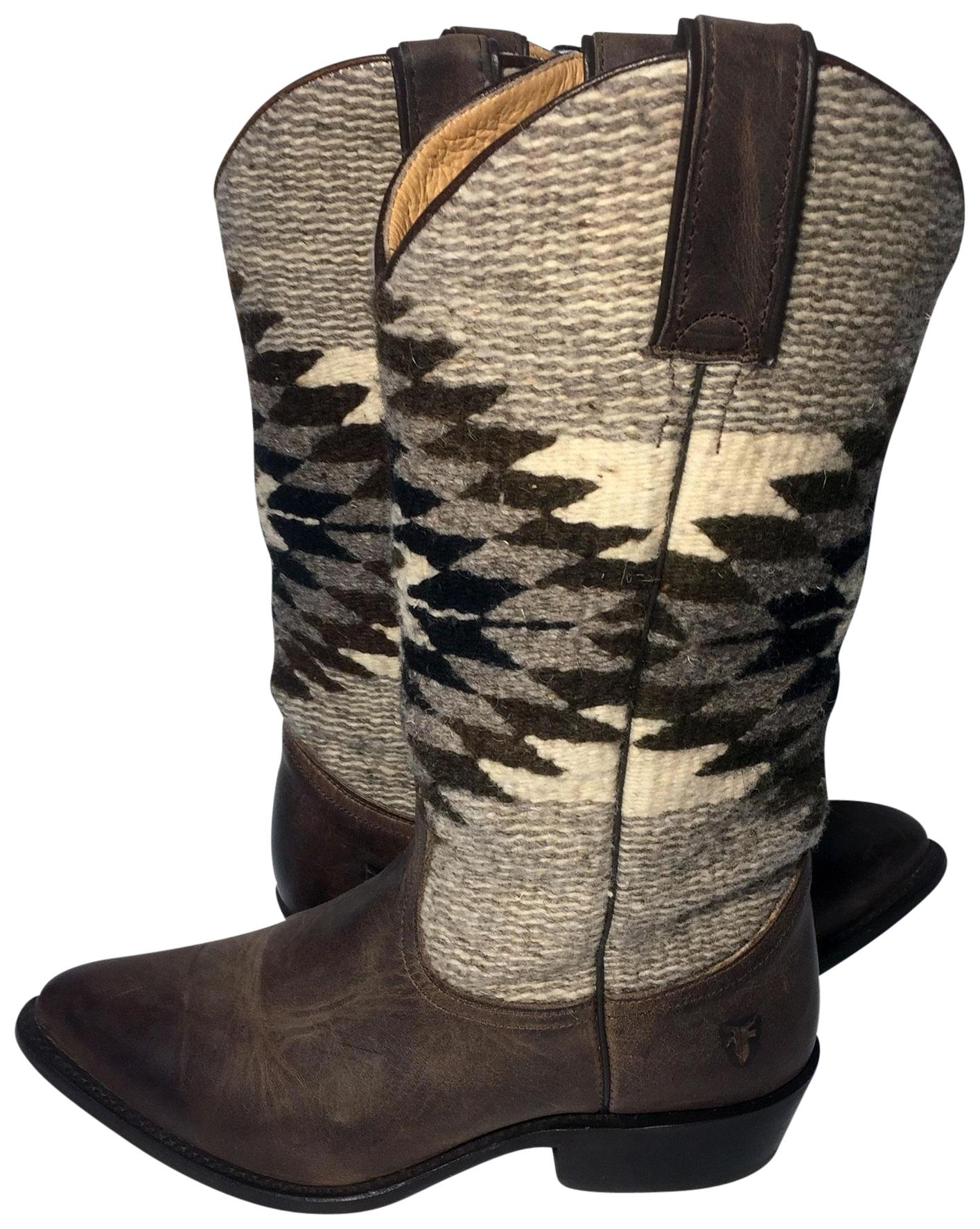 Frye Brown 77719 Billy Leather Wool Cowgirl Women Boots/Booties Size US 8.5 Regular (M, B)