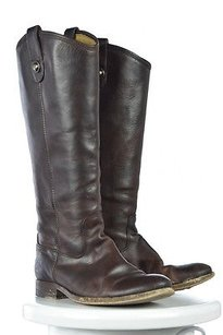 Frye Womens Mid Calf 7b Causal Leather Heels Brown Boots