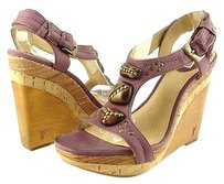 Frye Bridget Ornament Womens Designer Wooden Wedges Purples Sandals