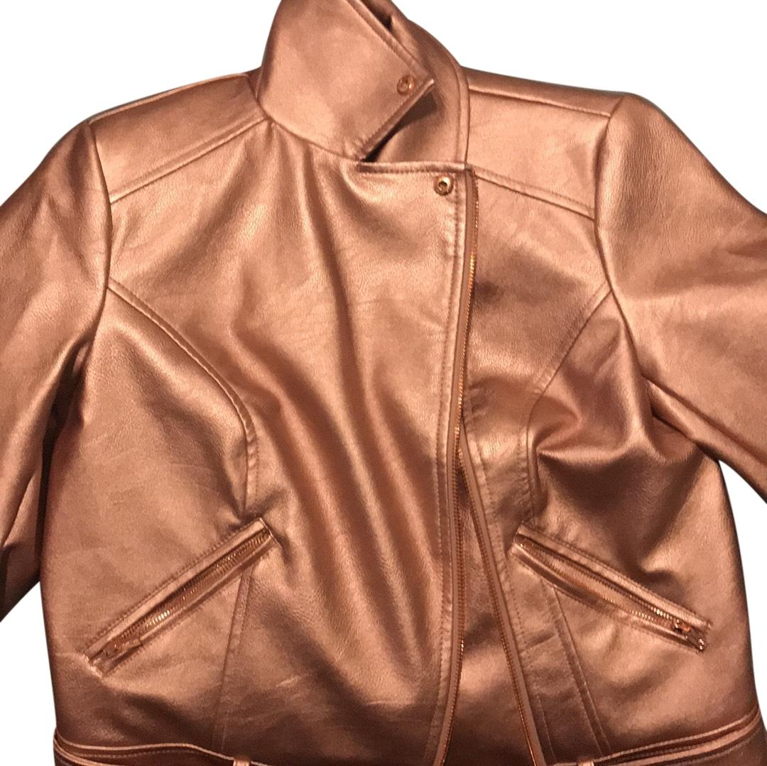 G by Giuliana Rose Gold Faux Leather Jacket Size 0 (XS ...