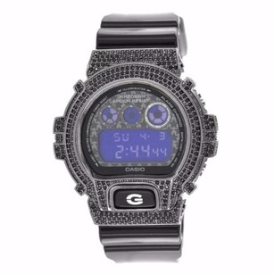 G-Shock Black Simulated Diamond G-shock Watch Custom Iced Out Dw6900sc-8dr Silicone Band