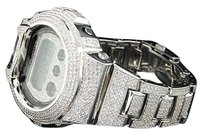 G-Shock G-shockg Shock White 10c Handset Simulated Diamond Custom Bezel Watch Joe Rodeo