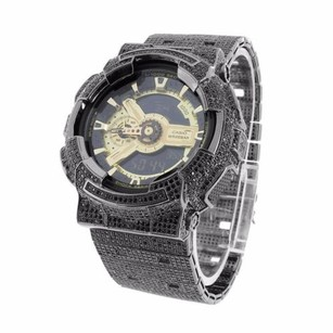 G-Shock Mens Black Full Iced Out Gold Tone G Shock Ga110 Cz Zircon Custom Icy Band Watch