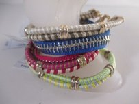 Gap Gap Red Blue Grn Gold Mixed Bangle Set Of Bracelets
