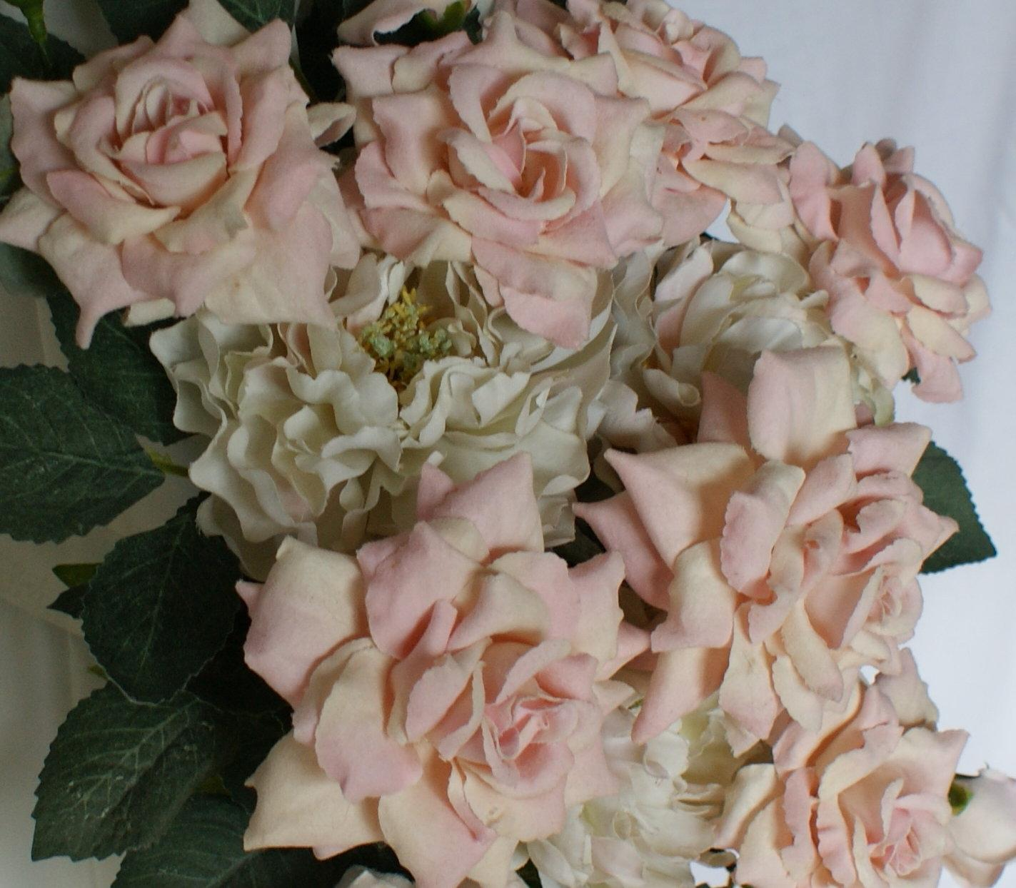 Garden Rose And Peony Crescent Cascade Bridal Bouquet. 12345