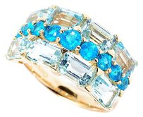 Gem Treasures 14K Yellow Gold 4.16ctw Neon Blue Apatite & Sky Blue Topaz Ring Sz7