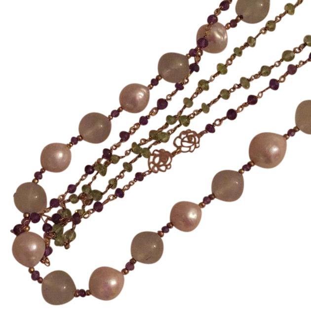 gem/pearl necklace with 2 chanel necklaces