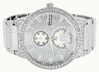 Geneva Simulated Diamond White Watch Mens Round Face Jojo Jojino Joe Rodeo Custom Mm