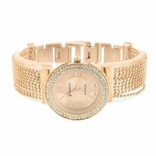 Geneva Rose Gold Tone Watch Simulated Diamond Bezel Bead String Bracelet Band Classy