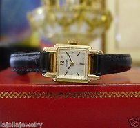Geneve Ladies Vintage Universal Geneve 18k Rose Gold Manual Wind Watch On Leather Strap