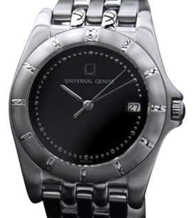 Geneve Universal Geneve Black Dial Stainless Steel Mens Quartz Dress Watch Dn164