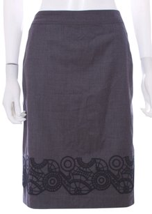 GERARD DAREL France Gray Career Work Straight Wool Classic Embroidered Skirt Charcoal