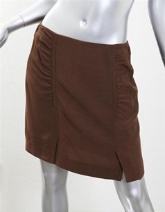 GERARD DAREL Short Mini Straight Fitted Gathered 36s Mini Skirt Brown