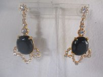 Gerard Yosca Gerard Yosca Black Stone Crystal Dangle Statement Earrings Irrg