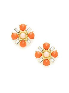 Gerard Yosca Gerard Yosca Coral Flower Button Earrings