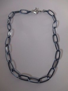 Gerard Yosca Gerard Yosca Silver Blue Crystal Short Link Necklace