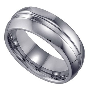 Geraud Tungsten Wedding Band Mens Grooved Inlay Comfort Fit 8mm Sz 7 To 14