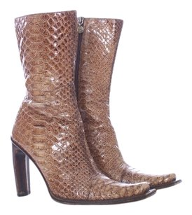 Gianni Bravo Animal Print Snakeskin Square Toe Stacked Heel Cowboy Brown Boots