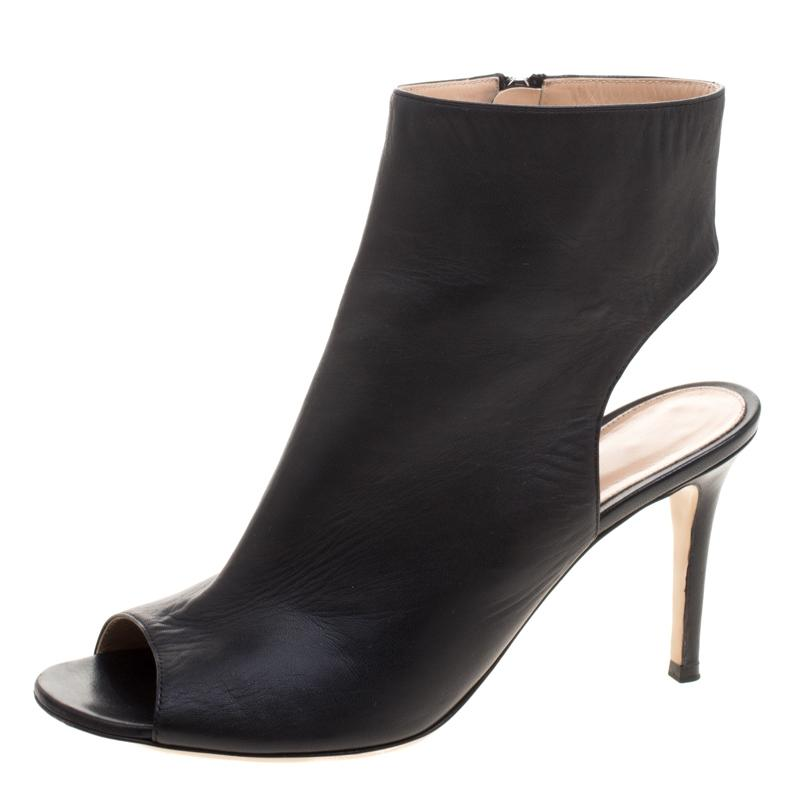 5fa4bc9a6791 Gianvito Rossi Black Leather Open Toe Cut Out Ankle Boots Booties  Boots Booties Boots