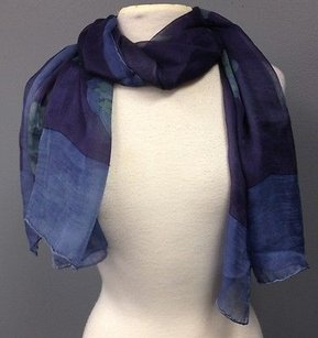 Giorgio Armani Giorgio Armani Blue Green Silk Floral Patterned Shawl Wrap Scarf 60x25 In B3179