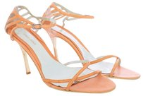 Giorgio Armani Leather Embossed Reptile Snakeskin Orange Strappy Open Toe Coral Sandals