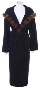 Giuliana Teso Fur Full Length Wool Cashmere Belted Hooded Fur Coat