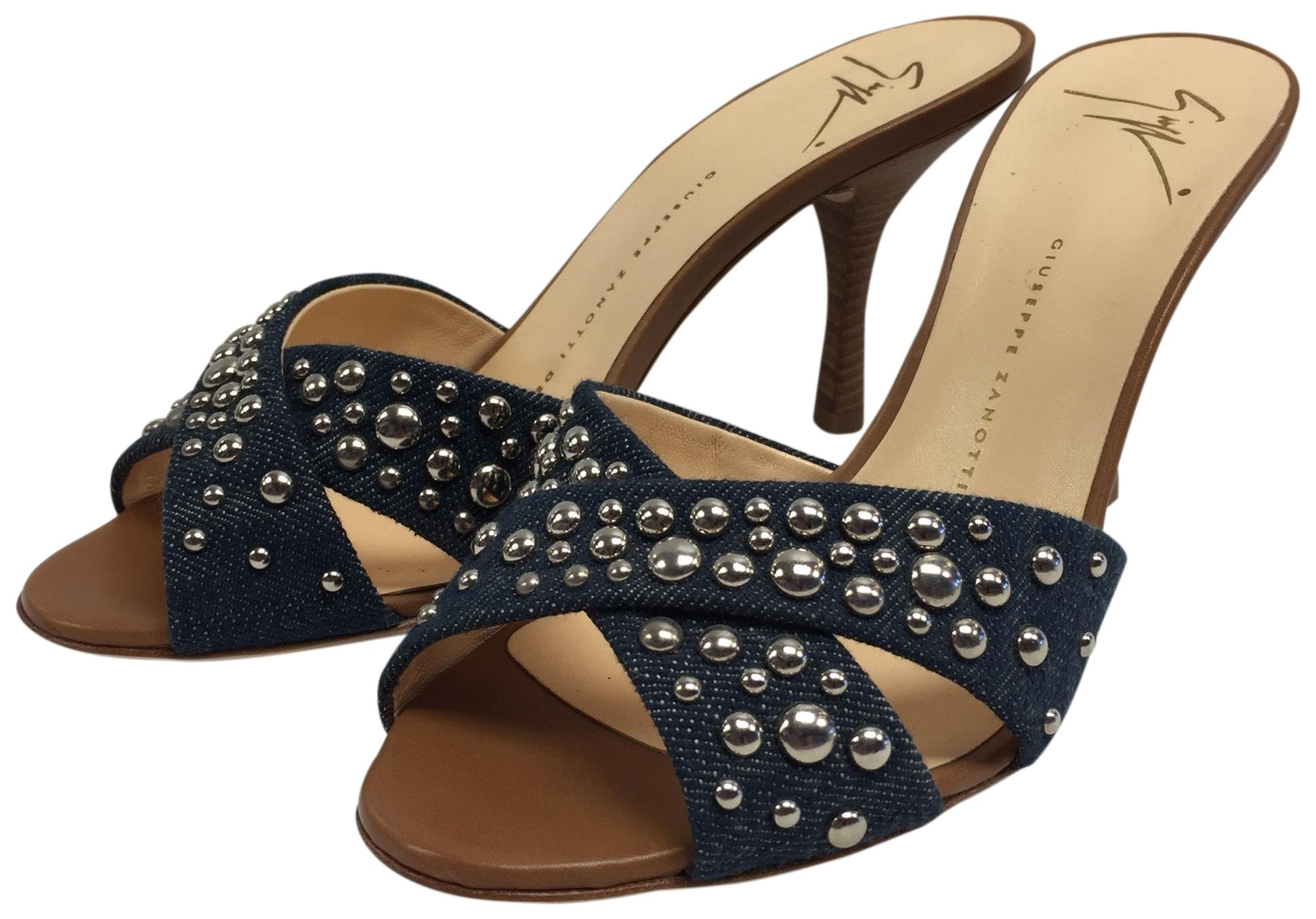 3f02b8563 Giuseppe Zanotti Blue and Tan Studded Denim High Sandals Sandals Sandals  with Wooden Heel Studded Denim Mules Slides Size EU 36.5 (Approx.