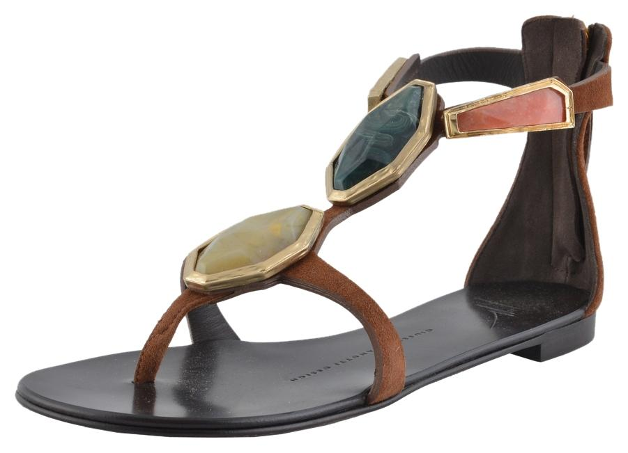 40fd808153b9 Giuseppe Zanotti Brown Design Women s Suede Leather Leather Leather Stone  Decorated Flat Sandals Size US 5 ...