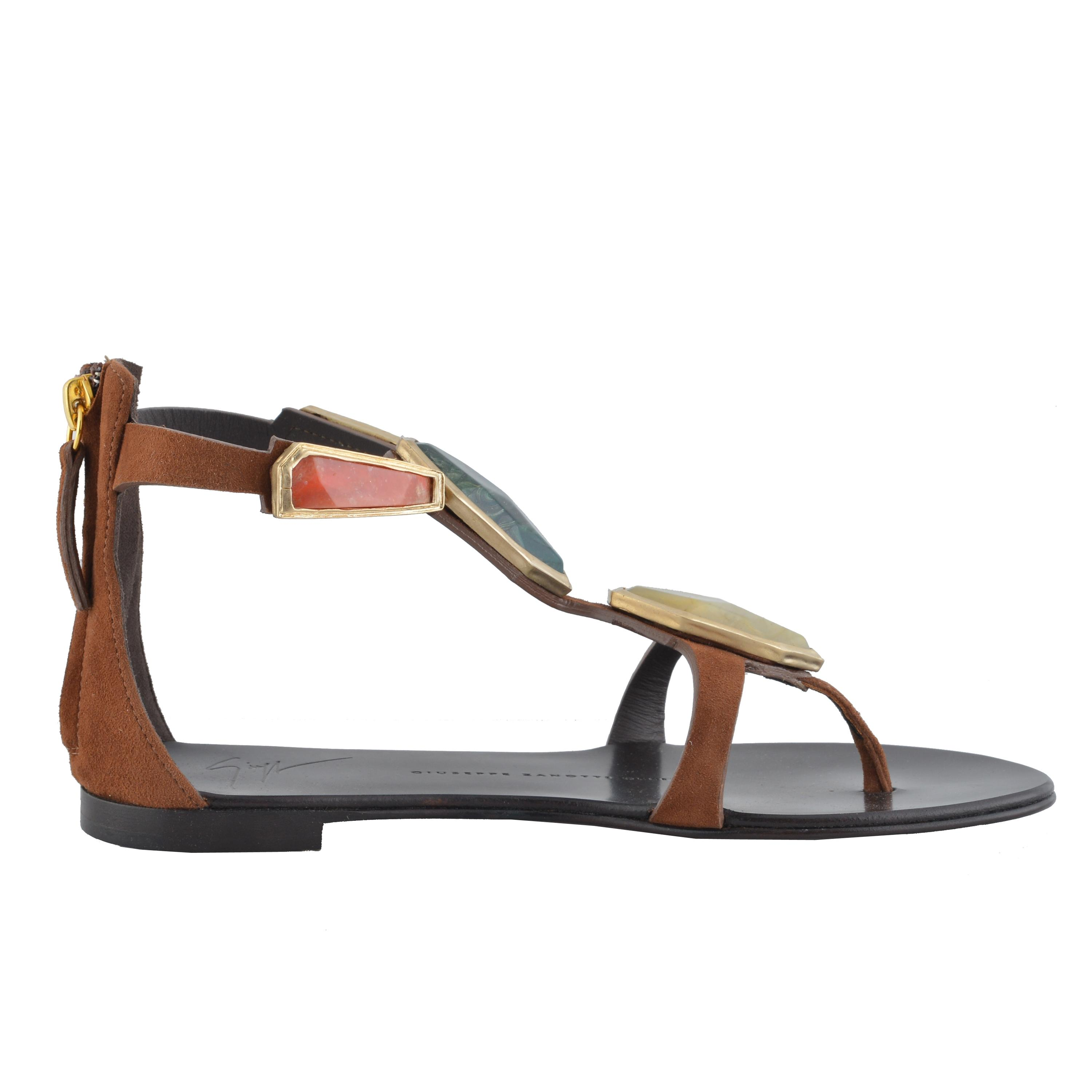 50fa81fe2df0 ... Giuseppe Zanotti Brown Design Women s Suede Leather Leather Leather  Stone Decorated Flat Sandals Size US 5 ...