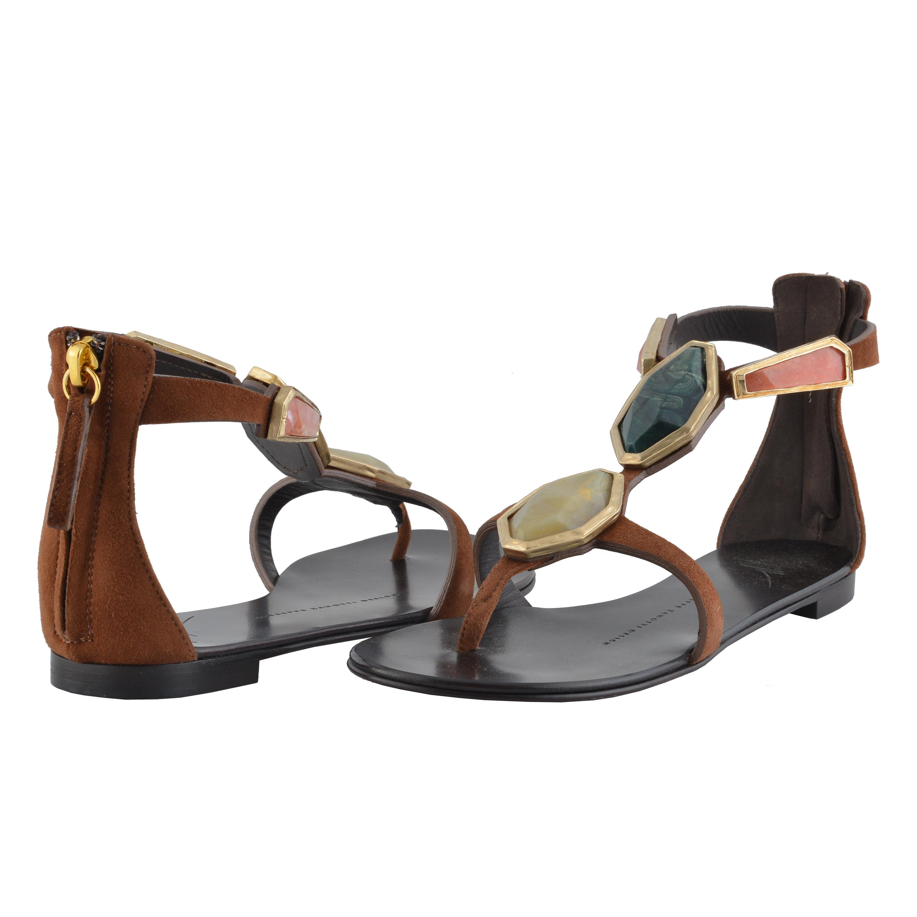 30f1f2770596 ... Giuseppe Zanotti Brown Design Women s Suede Leather Leather Leather  Stone Decorated Flat Sandals Size US 5