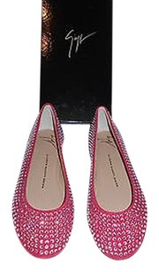 Giuseppe Zanotti E16199 Swarovski Crystals Luxurious Made In Italy Red Flats