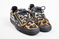 Giuseppe Zanotti Brown Black Leopard Pony Hair Leather Trim Sneakers Multi-Color Athletic