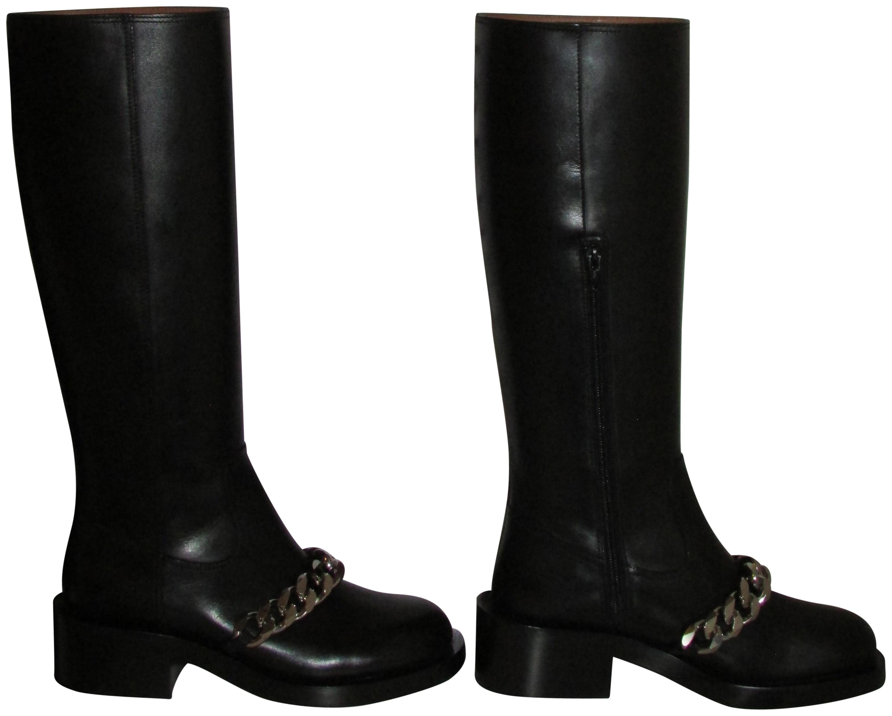 Givenchy Black Leather Chain Trim Pira Boots/Booties Size EU 40 (Approx. US 10) Regular (M, B)