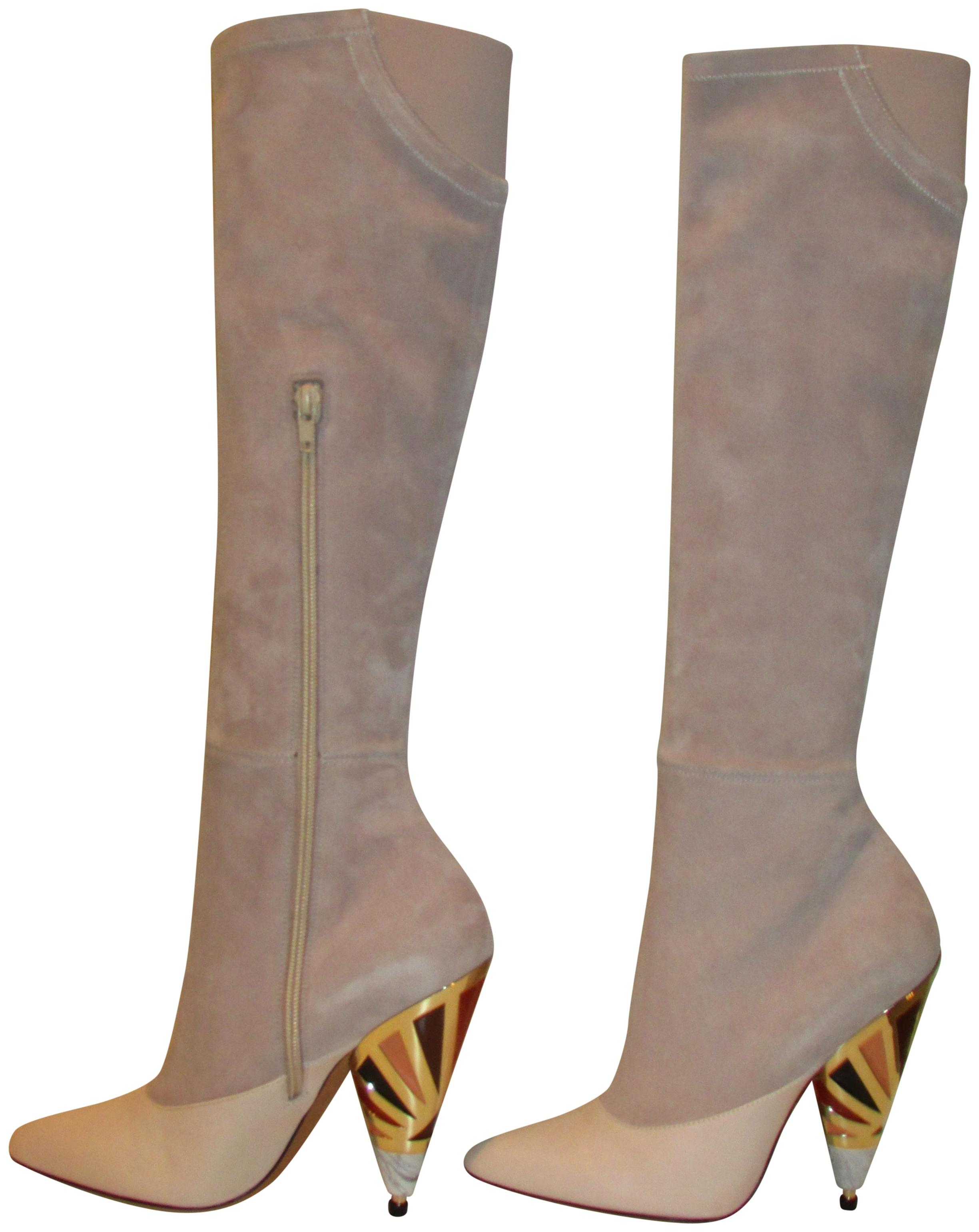 68cde6c0eb235 Givenchy Blush Pink Nude Egyptian Cone Heel Knee High Boots/Booties Size EU  37 (