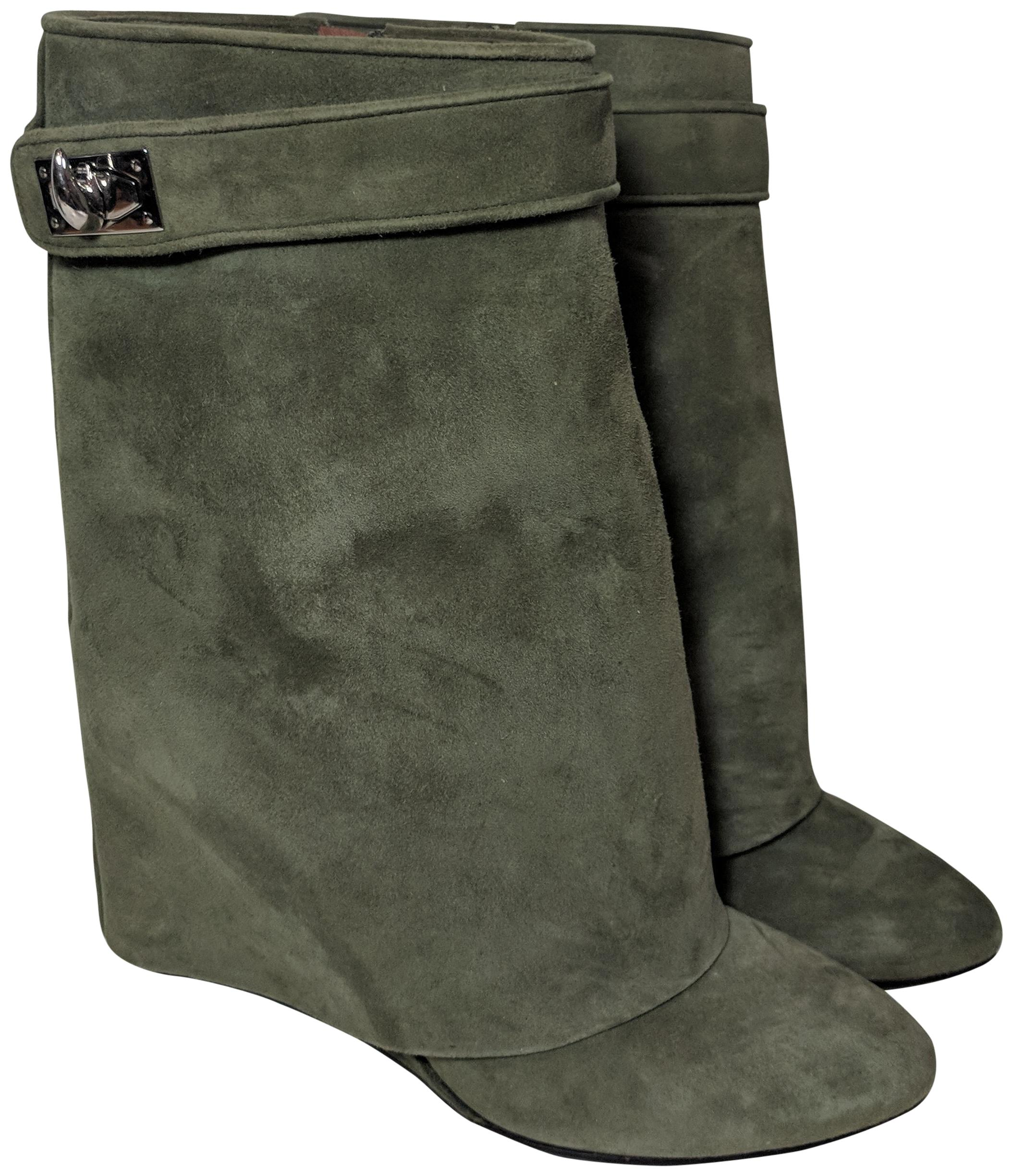 Givenchy Olive Green Suede Shark Lock Ankle Boots/Booties Size US 8 Narrow (Aa, N)