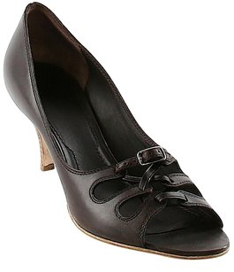 Givenchy Peep Toe Leather Brown Pumps