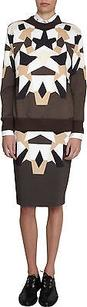Givenchy Brown Geometric Patchwork Stretch Knit Pencil 4210l Skirt Multi-Color