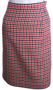 Givenchy Vintage Houndstooth Wool Skirt RED