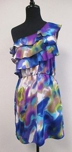 Glam Tie Dye One Pleated Ruffled Blouson W148 Dress