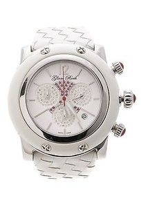 Glam Rock Glam Rock Stainless Steel White Leather Diamond Ruby Miami Watch