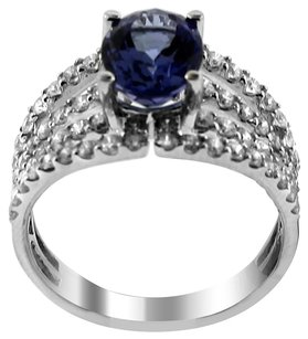 GLK 18K WHITE GOLD 1.19CT DIAMOND AND TANZANITE RING