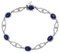 NWT 14K WHITE GOLD 5.37CT SAPPHIRE AND DIAMOND LOOP BRACELET