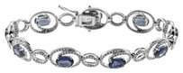 NWT 14K WHITE GOLD 7.85CT SAPPHIRE AND DIAMOND BRACELET