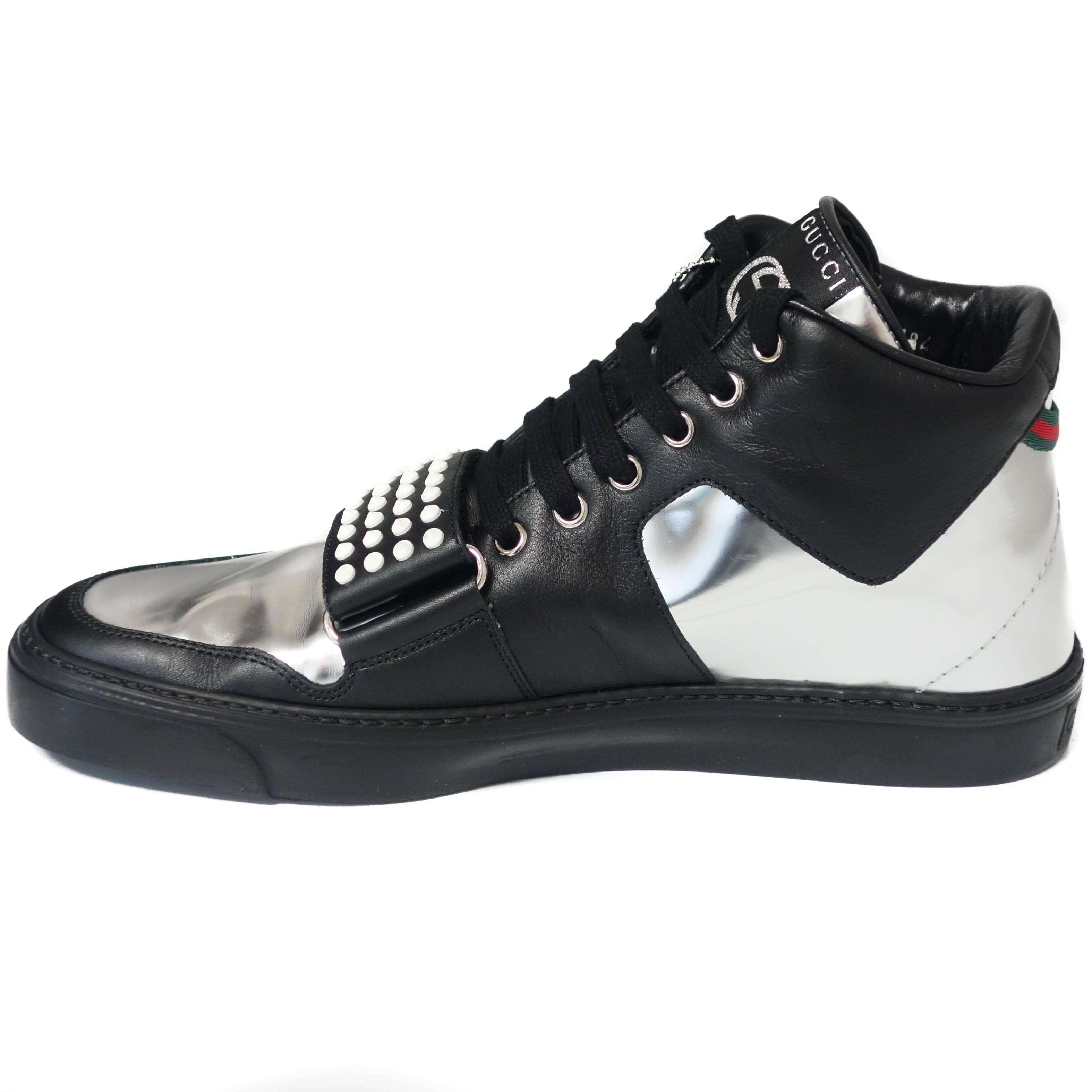 ... Gucci 376194 Sneaker Limited Edition High Top Black, Silver Athletic ...