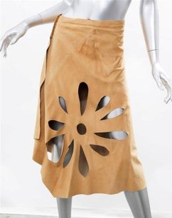 Gucci Womens Tan Leather Flower Cutout 406 Skirt Camel