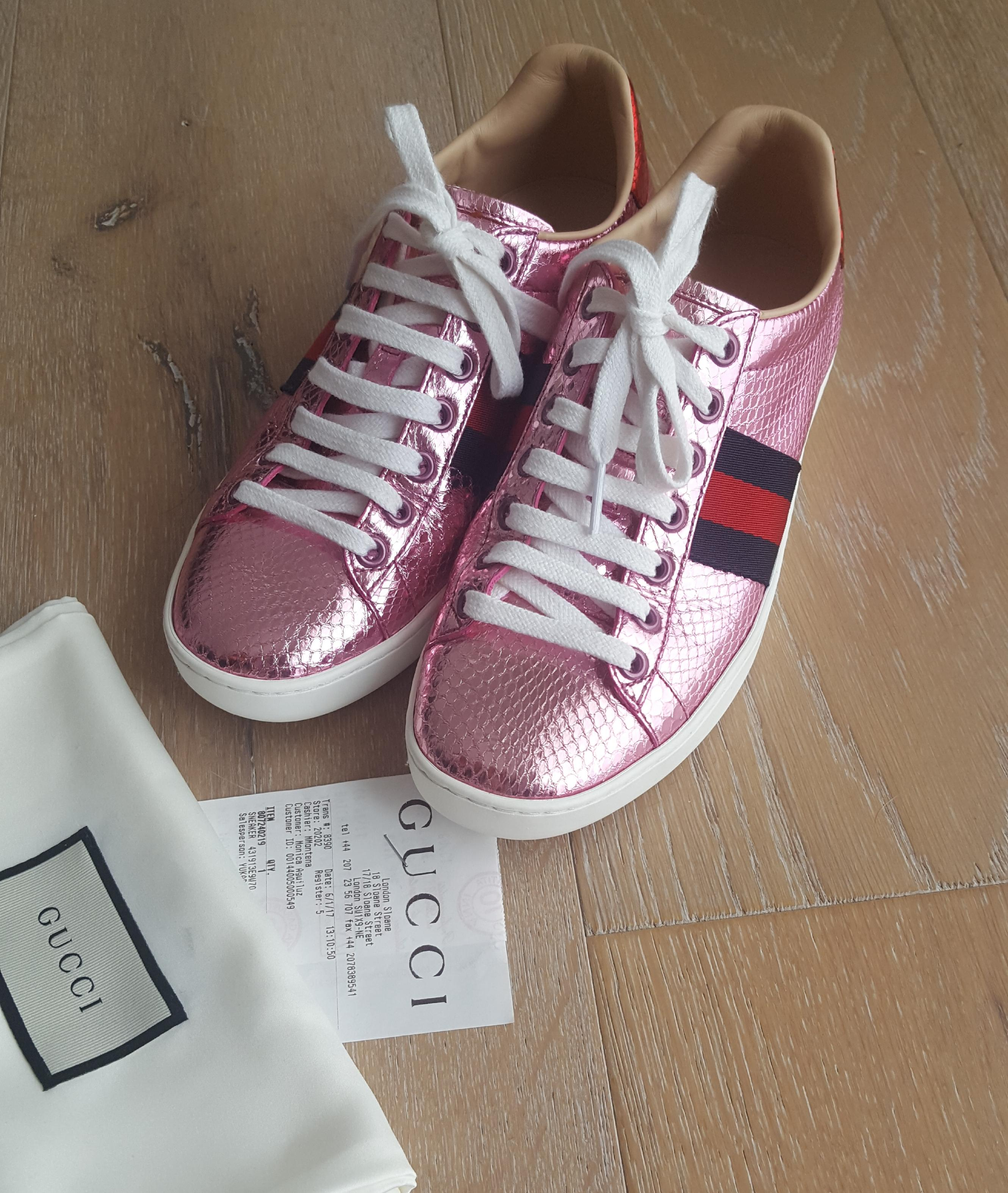 gucci ace snakeskin pink athletic shoes on sale 16