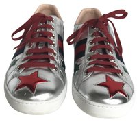 Gucci Ace Star Embroidered Sneakers Metallic Silver Athletic